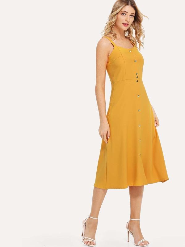 3decd9a4468 Button Front Longline Cami Dress -SheIn(Sheinside)