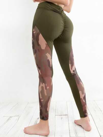 Camouflage Mesh Contrast Leggings 63abbb319c4