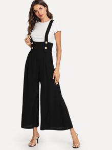 Buttoned Strap Wide Leg Jumpsuit Sheinsheinside