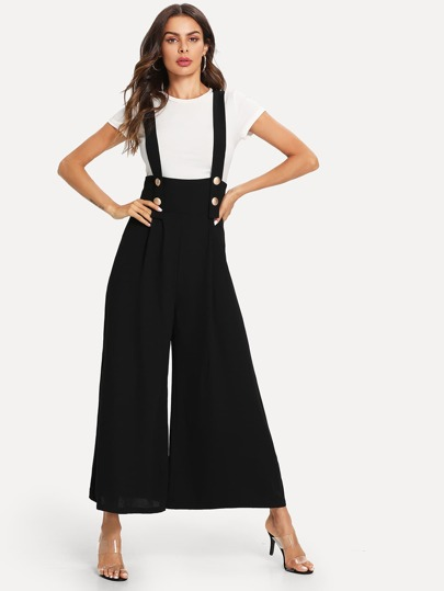 329be51b52fd Buttoned Strap Wide Leg Jumpsuit -SheIn(Sheinside)