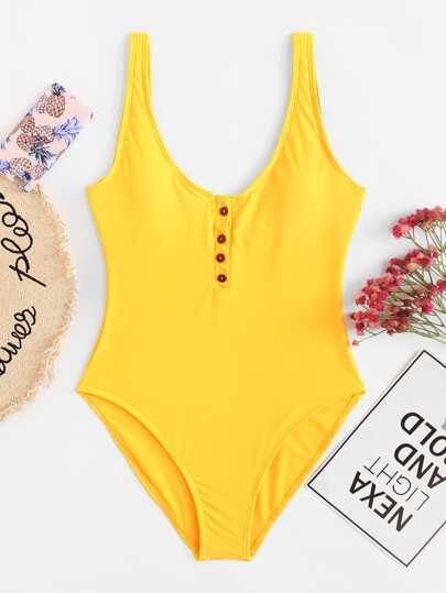 277412cc6408c Button Front One Piece Swimsuit