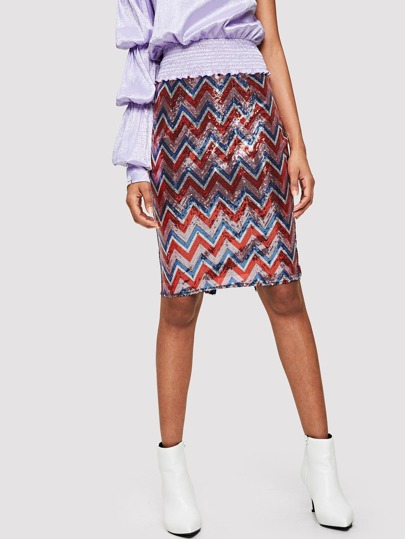 SHEIN Slit Hem Chevron Sequin Skirt