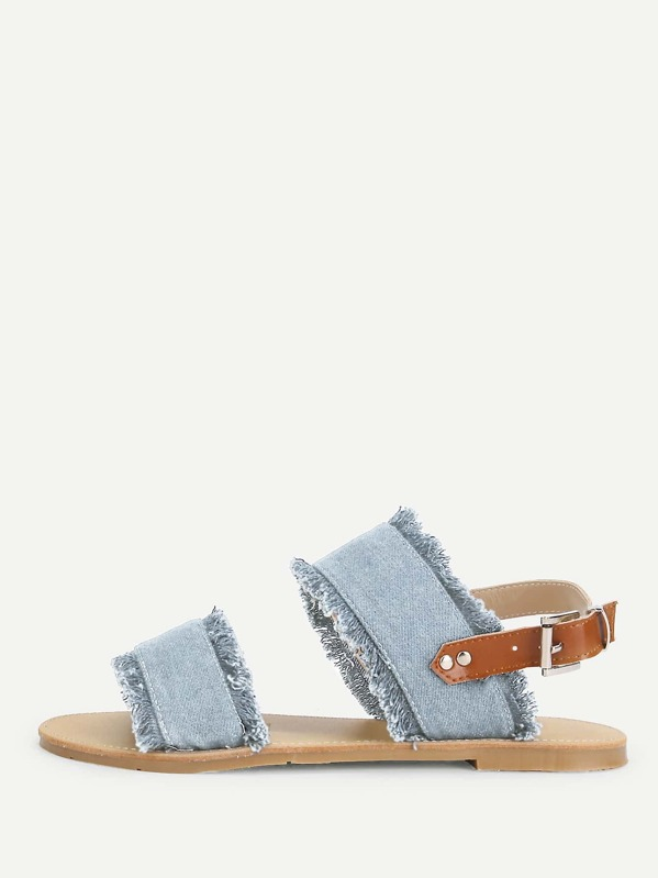 4556b6bf78afde Raw Trim Denim Sandals -SheIn(Sheinside)