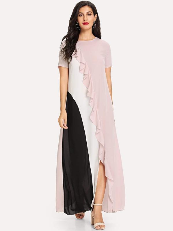 Vestido fruncido con costuras -Spanish SheIn(Sheinside)