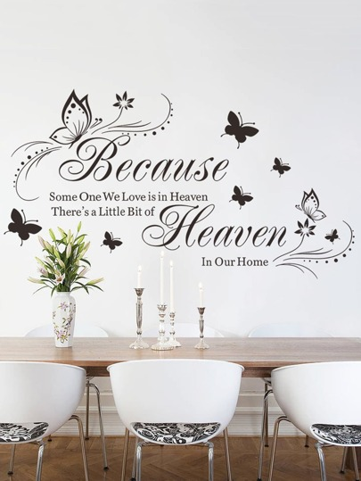 Slogan Decor Wall Sticker -SheIn(Sheinside)