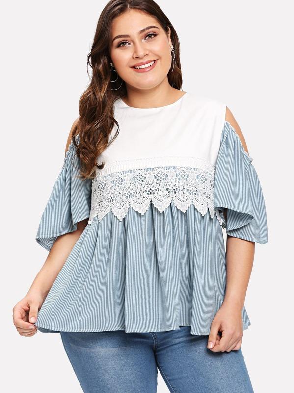 94198c66419 Plus Contrast Lace Striped Cold Shoulder Ruffle Hem Blouse -SHEIN(SHEINSIDE)