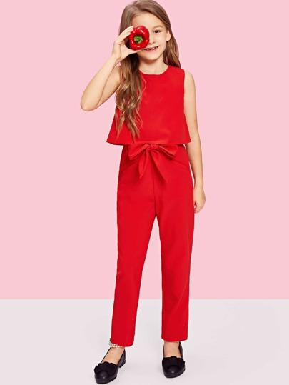 c98e155165c1 Girls Zip Up Back Top   Tie Waist Jumpsuit