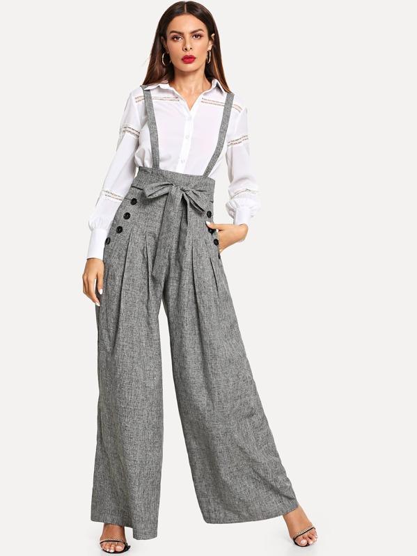 cd3760fc2350b Pantalon ceinturé à double boutonnage à bretelle avec poche-French SheIn( Sheinside)