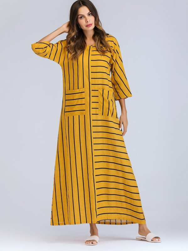 Dual Pocket Stripe Longline Dress, Yellow, Andy