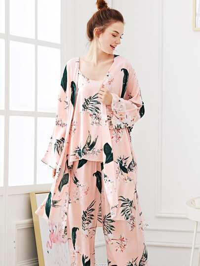 Flower Print Pajama Set With Robe c58d34fd2