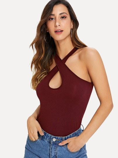 16e2507cf59a2 Keyhole Criss Cross Neck Top