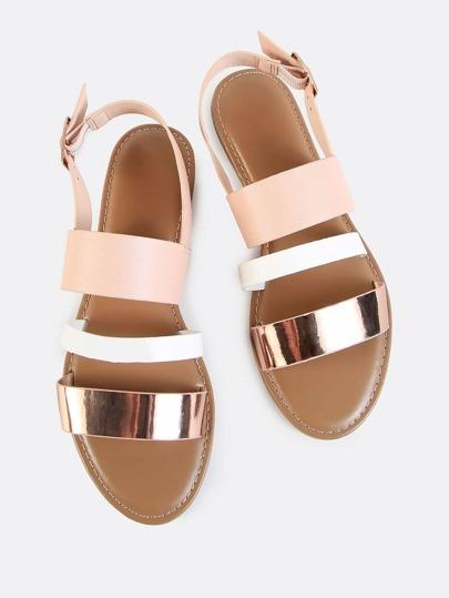 sling back triple band sandals rose gold multi shein sheinside