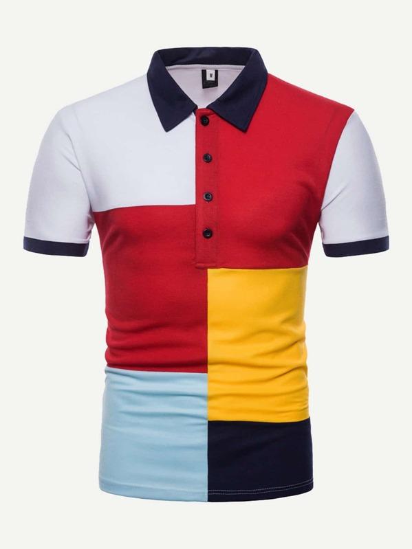 bfa20ee7ecfe Men Color Block Polo Shirt -SheIn(Sheinside)