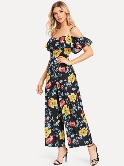 7a984f58b95 Open Shoulder Floral Print Flounce Jumpsuit