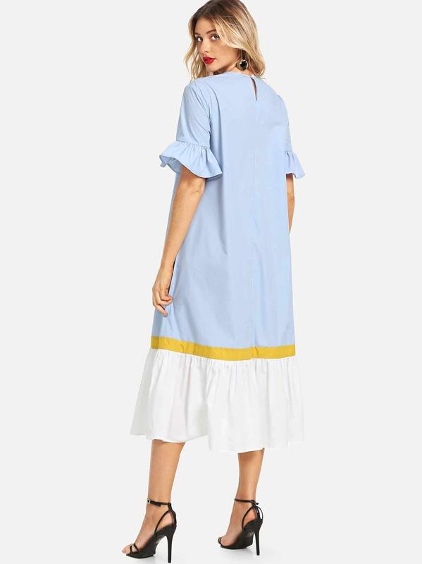 Vestido con costura de puño y bajo fruncido-Spanish SheIn(Sheinside)