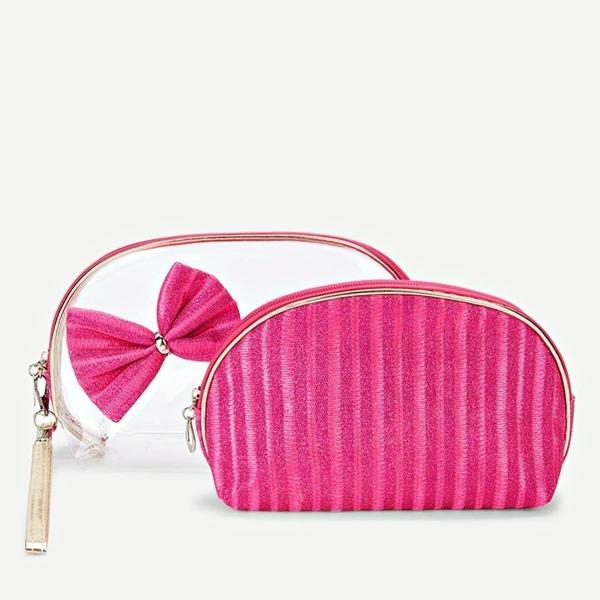 Bow Embellished Striped Makeup Bag 2pcs, Pink