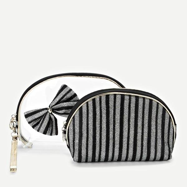 Bow Embellished Striped Makeup Bag 2pcs, Black