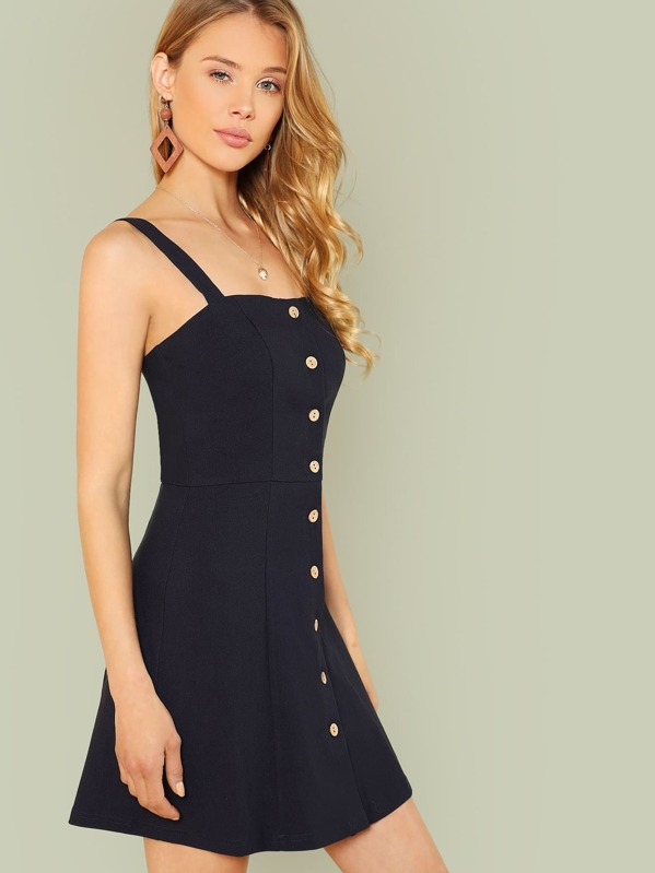 966f0b772a873 Robe à bretelle épaisse avec bouton -French SheIn(Sheinside)