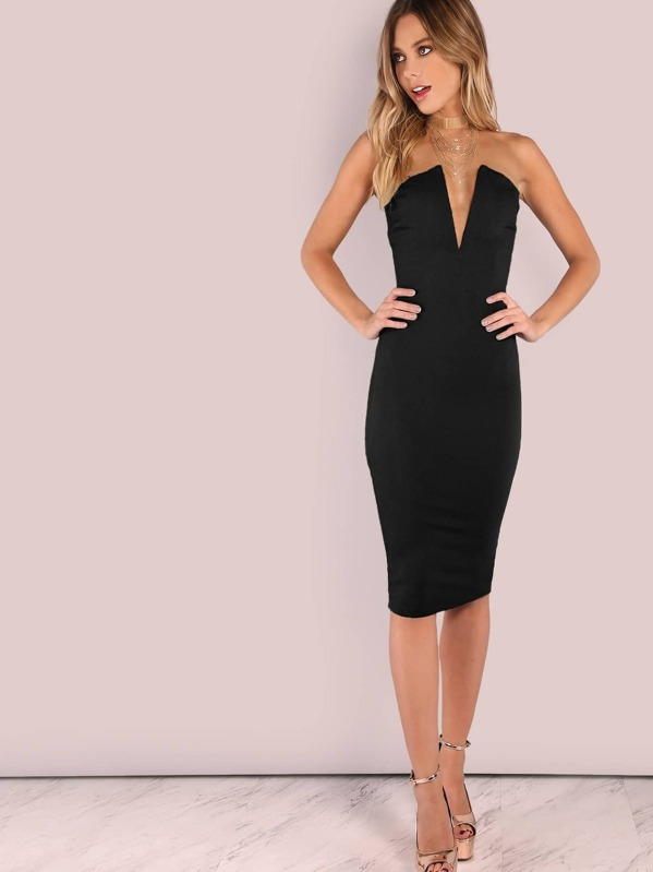 Plunging Bust Bandeau Bodycon Midi Dress Sheinsheinside