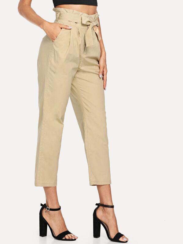Pantalones con bolsillo oblicuo de cintura con lazo-Spanish SheIn(Sheinside) 6348691fc7b