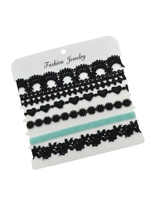 6 piezas / set encaje de la flor de encaje negro rombo patrón ...