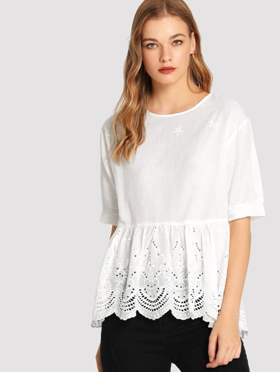 a22d52b80eb Scallop Hem Eyelet Embroidered Smock Top -SheIn(Sheinside)