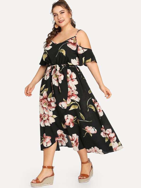 Grande taille Robe imprimée fleur ceinturée à épaules dénudées-French SheIn( Sheinside) 41bf8632f448
