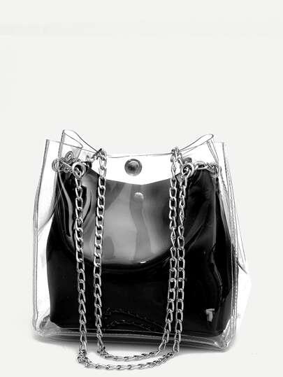 Sac fourre-tout à chaîne transparent avec poche intérieure e2e00a8dd63