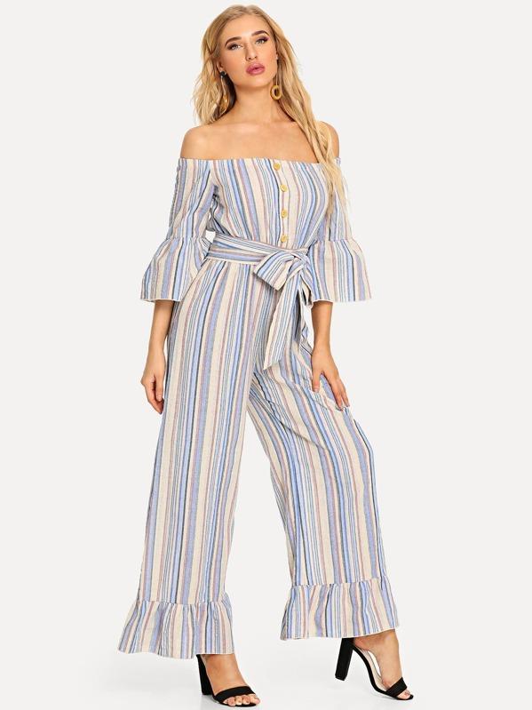 f2a35b8d4026 Button Front Ruffle Trim Striped Bardot Jumpsuit -SHEIN(SHEINSIDE)