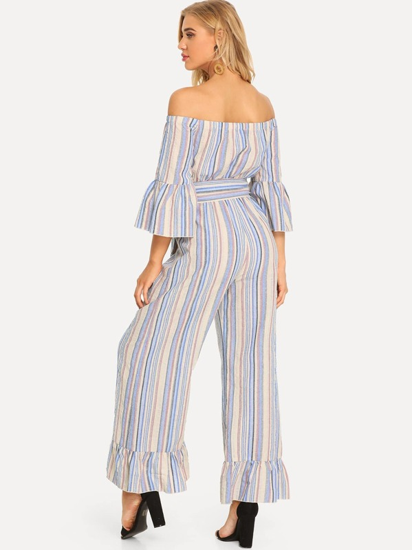 57bd9c629b1c Button Front Ruffle Trim Striped Bardot Jumpsuit. AddThis Sharing Buttons