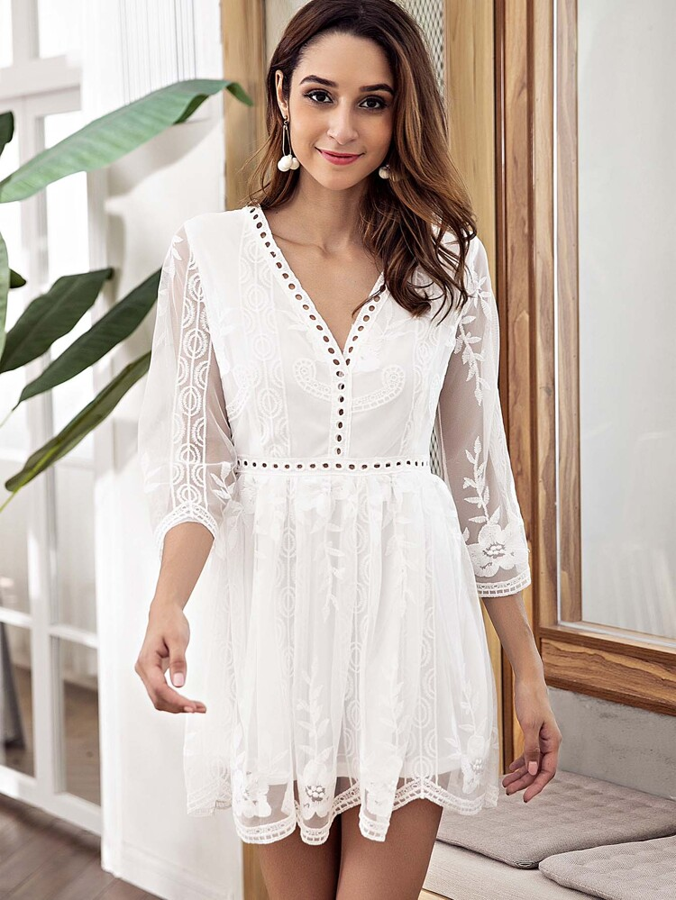 e9969ab1d81 Pointelle Trim Mesh Overlay Embroidered Dress