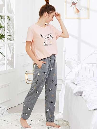 01948f4c17 Penguin   Letter Print Pajama Set
