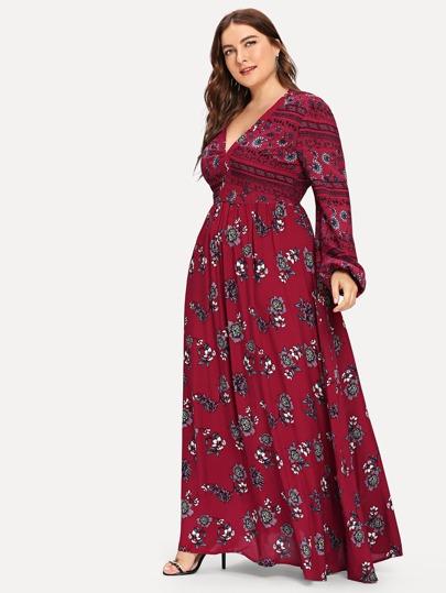 41a82a9c7 فساتين كبيرة الحجم منقط بالألوان الأحمر - Arabic SheIn(Sheinside)