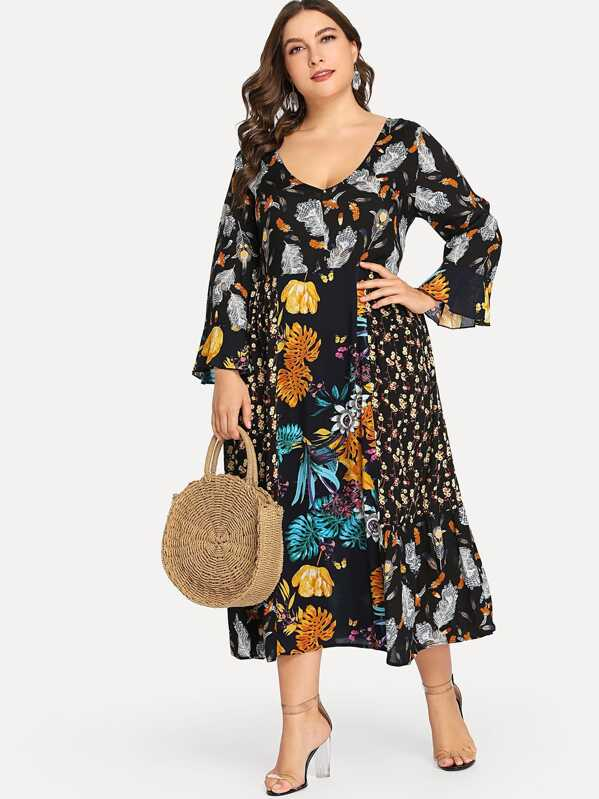 venta de liquidación comprar Últimas tendencias Vestido floral de manga campanuda de talla grande