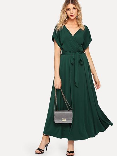 807d7b07f1171 فستان متين مع حزام طويل الأكمام