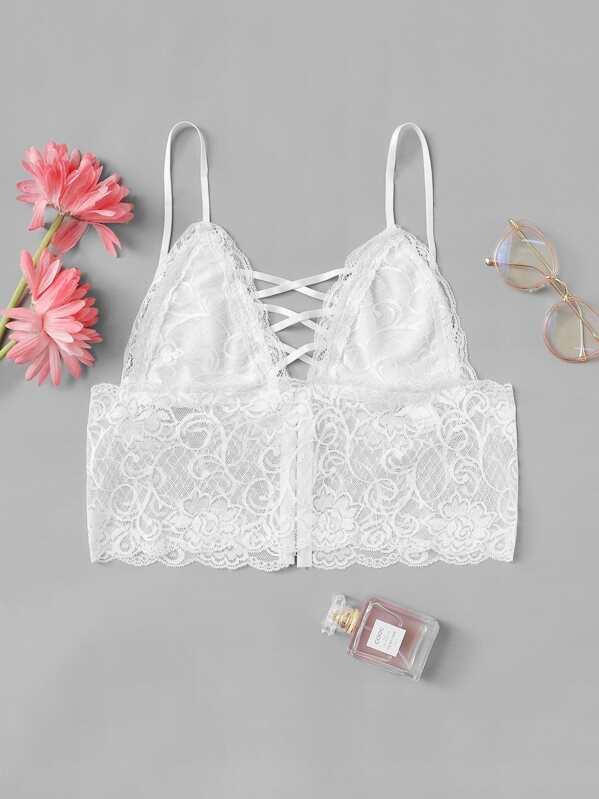 47da3b5d412dd8 Strappy Floral Lace Longline Bralette -SheIn(Sheinside)