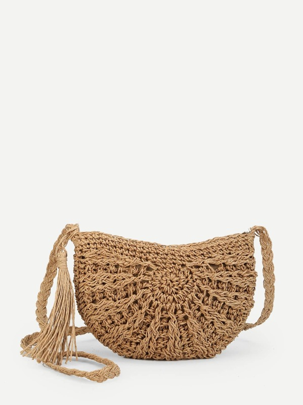 Tassel Detail Straw Bag, Khaki