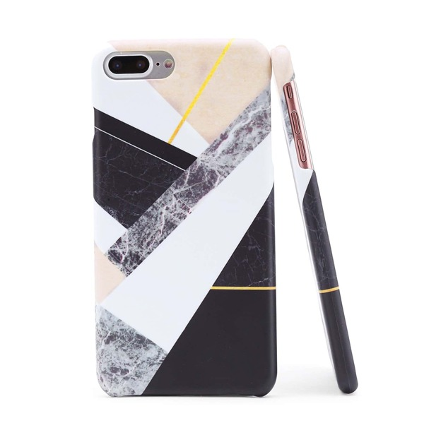 Color Block Marble Print iPhone Case, Multicolor