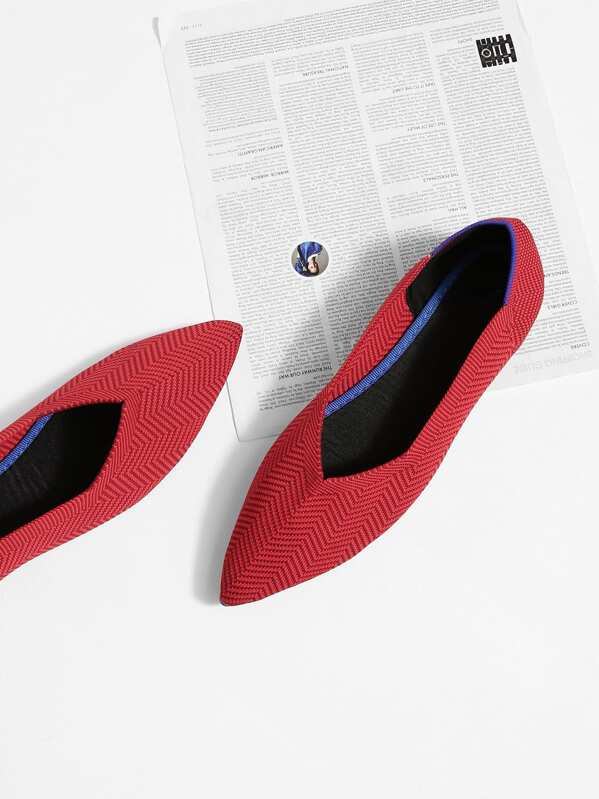 Zapatillas de punta con patrón de chevron-Spanish SheIn(Sheinside)