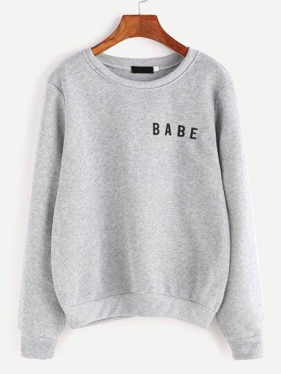 5aaf6d0ab7f56 Light Grey Letter Print Sweatshirt
