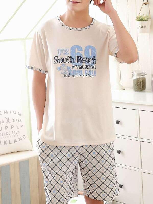 9ab779eb6 Conjunto de pijama de hombres con estampado geométrico de letra-Spanish  SheIn(Sheinside)