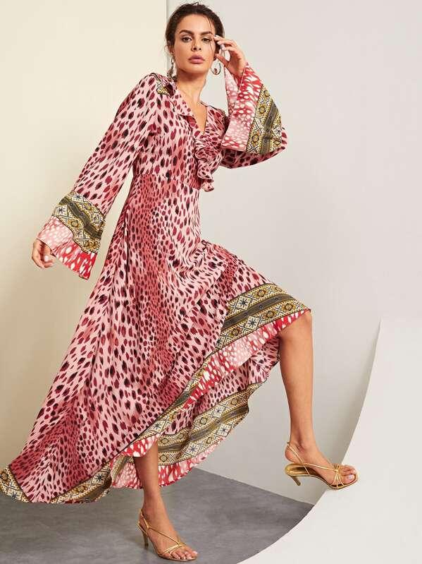Ruffle Detail Wrap Leopard Print Dress by Shein