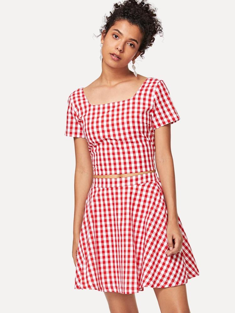 bea7e86096 Square Neck Plaid Crop Top & Skirt Set | SHEIN