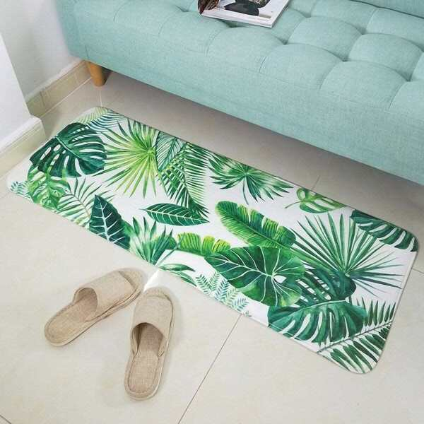 Tropical Leaf Printed Mat, Green