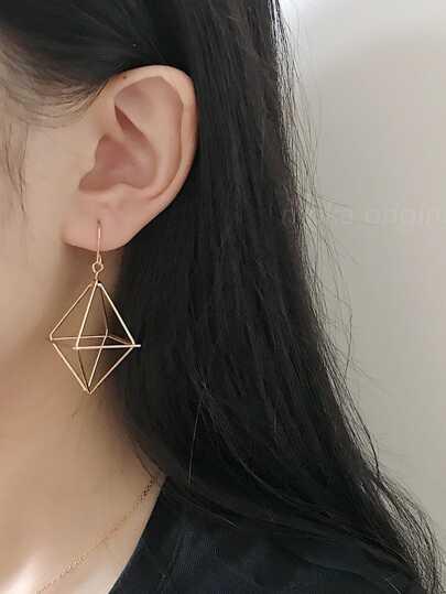 Hollow Geometric Design Drop Earrings 1pair