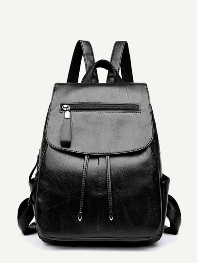 2890b1957977 Zip Front PU Flap Backpack