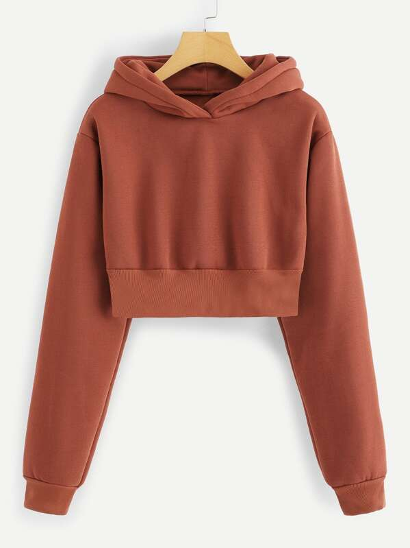 Hooded Crop Sweatshirt, Red