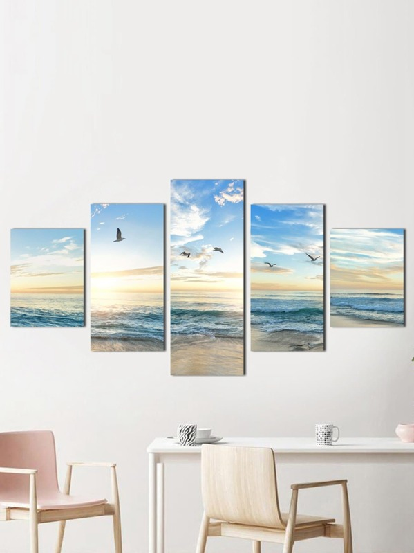 Landscape Painting Cloth Wall Art 5pcs -SheIn(Sheinside)