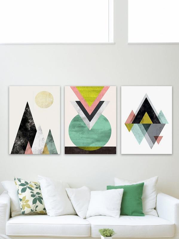 Geometry Painting Cloth Wall Art 3pcs -SheIn(Sheinside)
