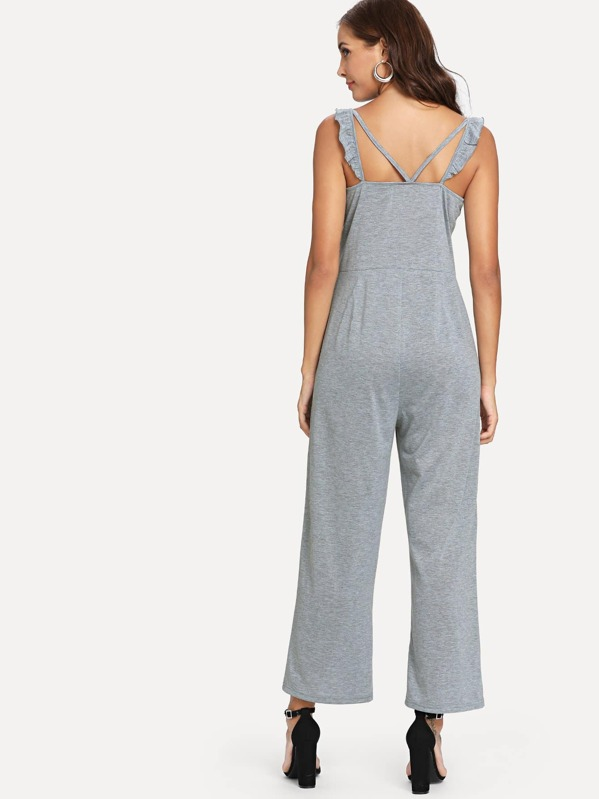 81d03344018 Solid Wide Leg Jumpsuit with Ruffle Strap -SheIn(Sheinside)